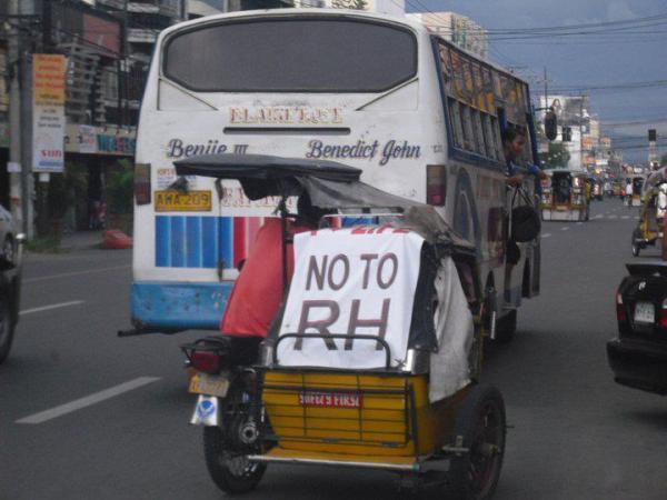 Anti-RH Bill tricycle driver in Dagupan City.